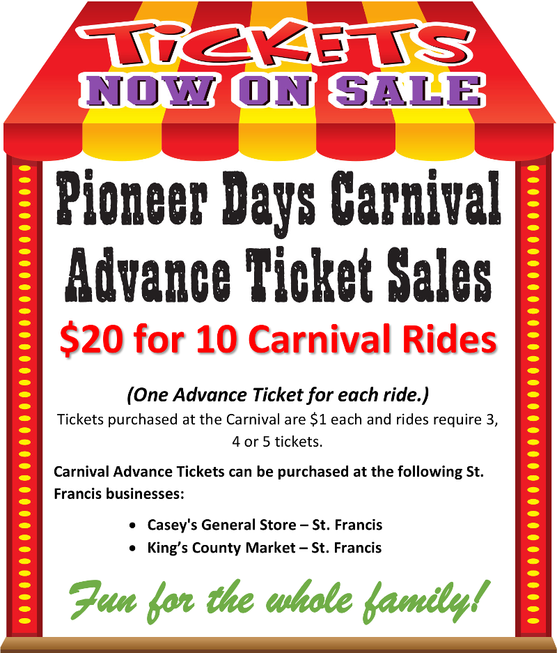 Pioneer Days Carnival Ride Tickets