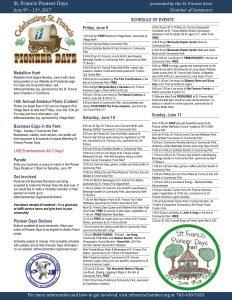 Pioneer Days 2017 Schedule of Events
