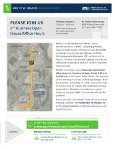 Hwy 47 St. Francis - 2nd Business Open House / Office Hours @ St. Francis Public Works | Saint Francis | Minnesota | United States