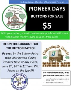 Pioneer Days Buttons and Coupon Books On Sale Now
